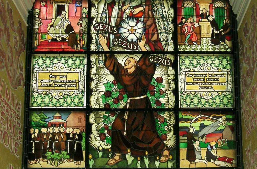 Święty Szymon z Lipnicy witraż